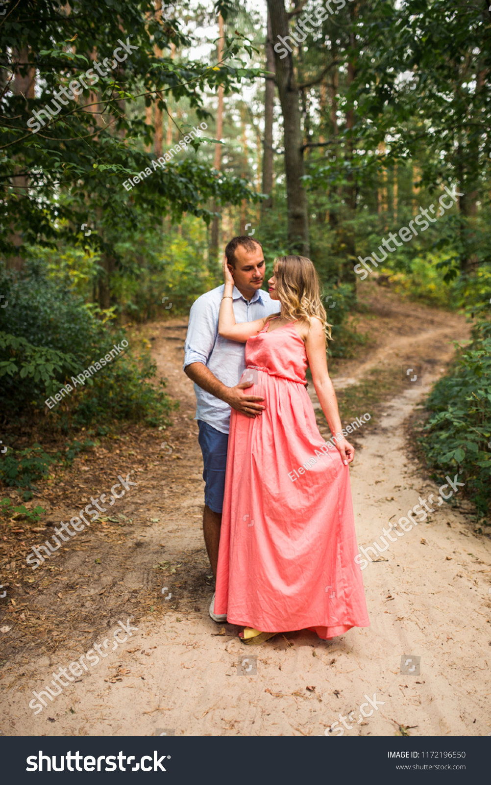 Husband His Pregnant Wife Walking Sunset Stock Photo Edit Now 1172196550