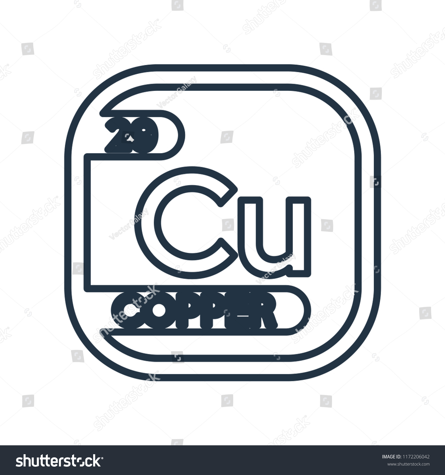 Copper Symbol Periodic Table Isolated On Stock Vector Royalty Free