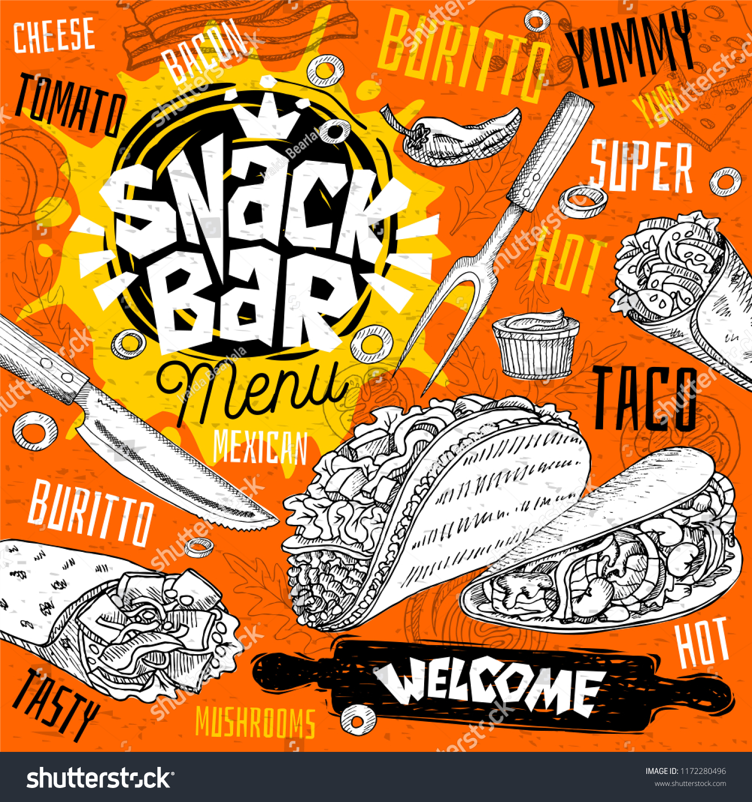 Vector De Stock Libre De Regalias Sobre Snack Bar Cafe Restaurant Menu Mexican1172280496
