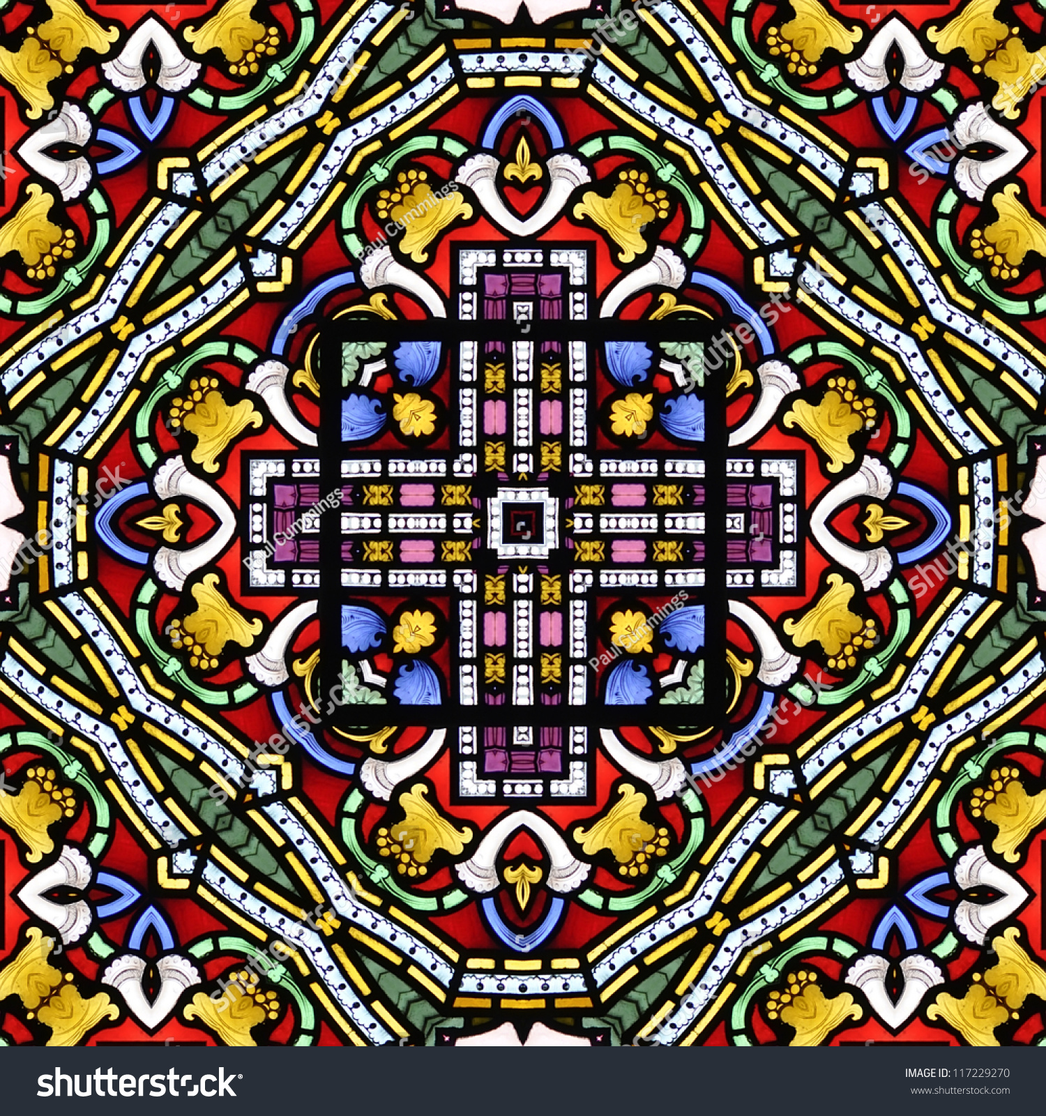 Colourful Seamless Stained Glass Window Panel Stock Illustration 117229270