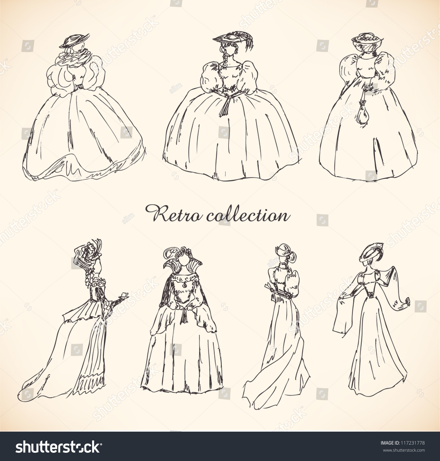 Set Sketches Women Retro Clothes Ladies