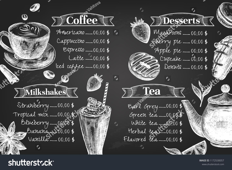 Vector De Stock Libre De Regalias Sobre Chalkboard Cafe Menu Design Design Template1172530057