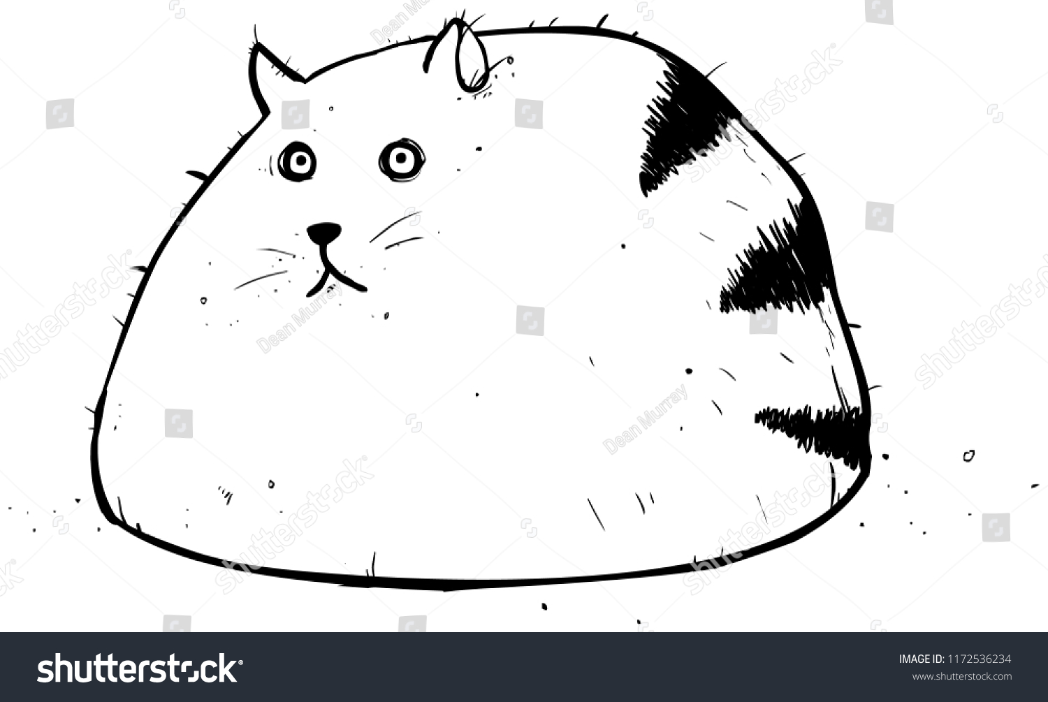 Fat Cat Outline Cartoon Character Illustration Stock Vector Royalty Free 1172536234