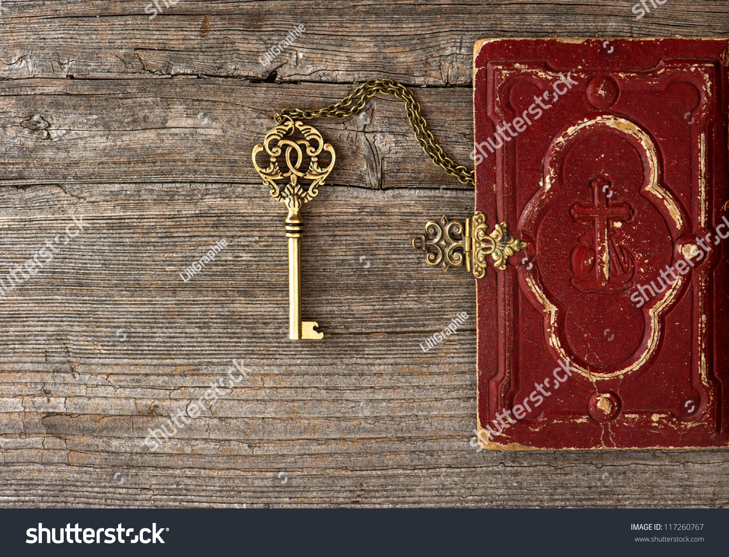 Book Cover Texture Key ~ Key old bible book cover on stock photo