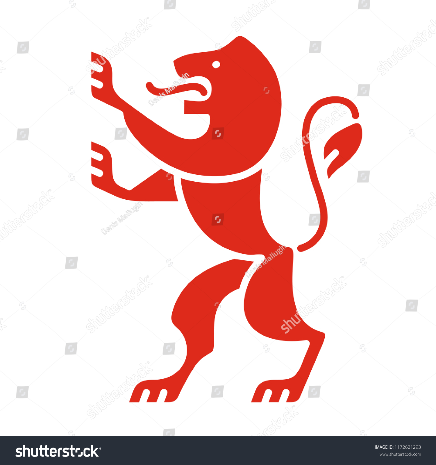 Heraldic Lion Coat Arms Modern Style Stock Vector Royalty Free