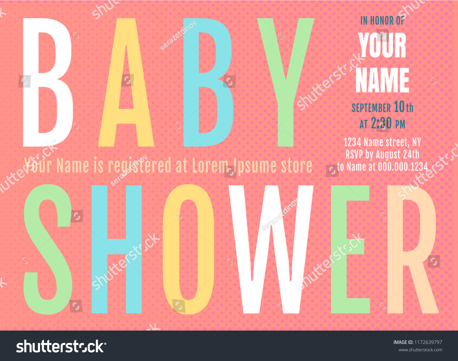 Vector Invitation Fof Baby Shower Colorful Stock Vector (Royalty ...