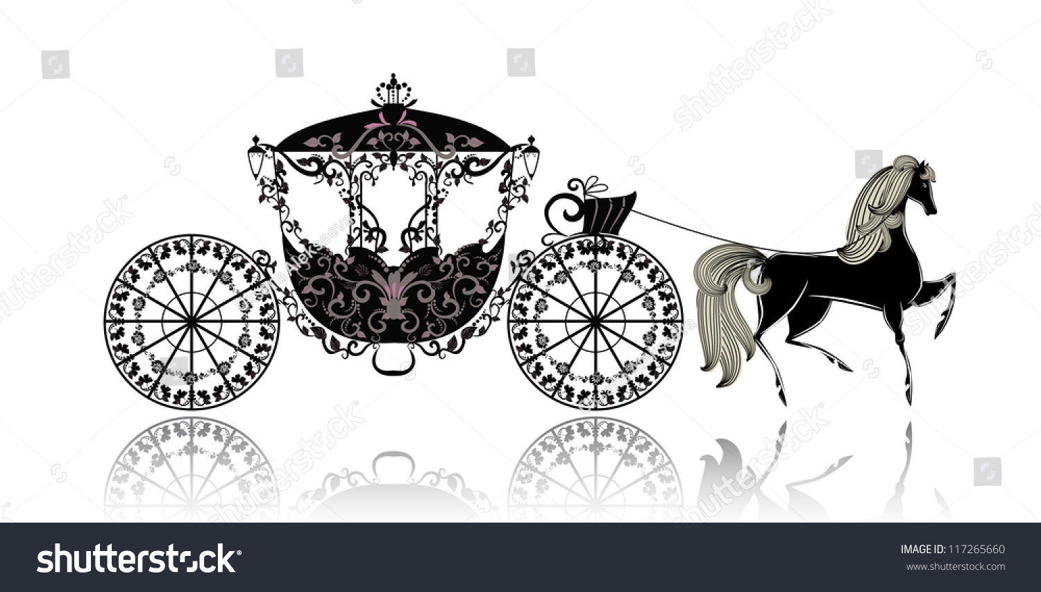 Vintage Carriage Horse Stock Vector 117265660 Shutterstock