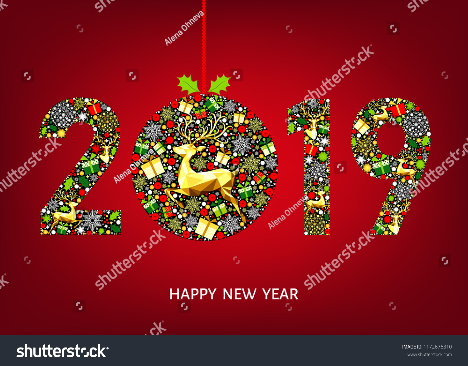 2019 happy new year greeting card on red background with christmas ball with gold reindeer