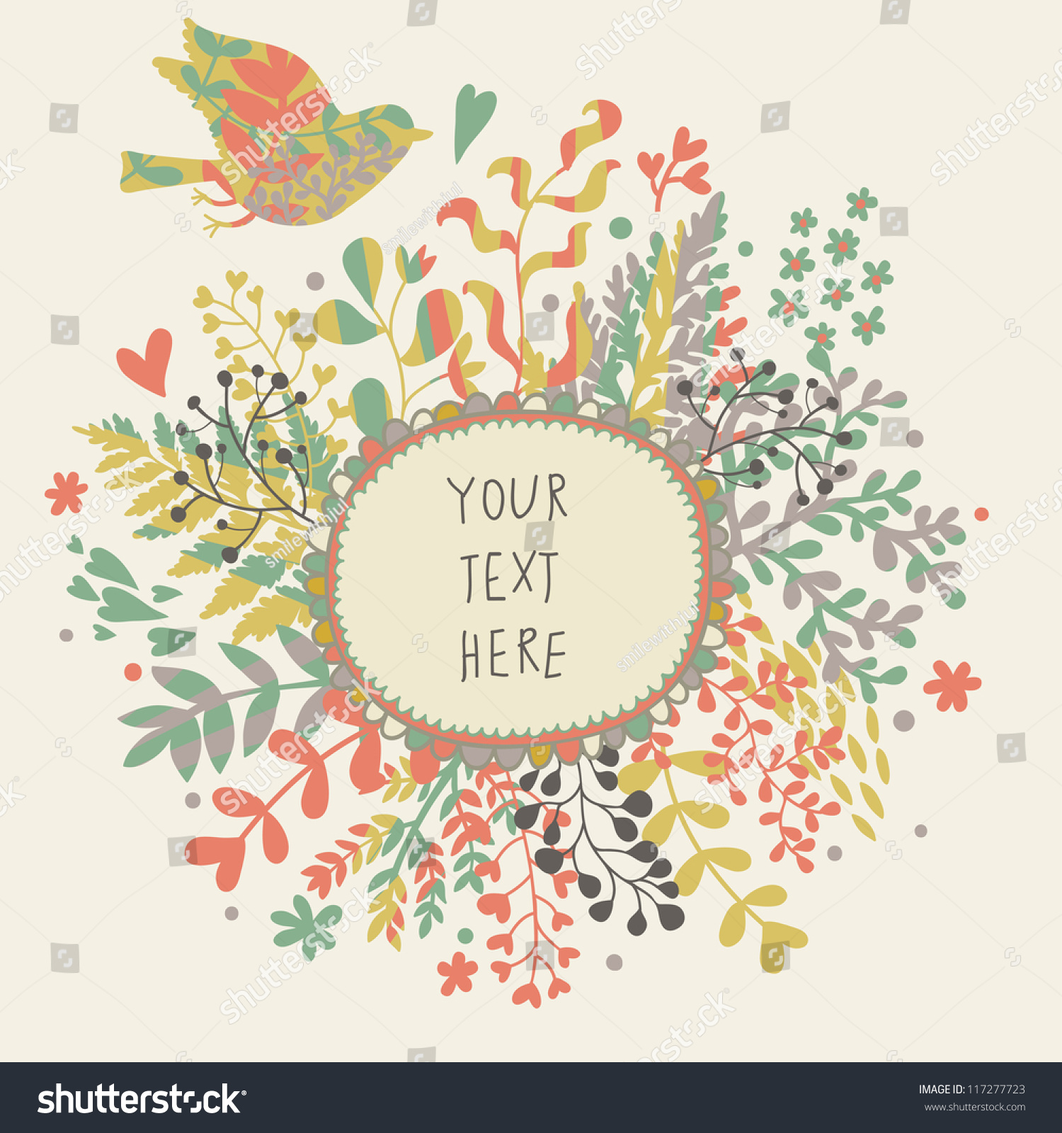 vintage floral background cute bird pastel stock vector