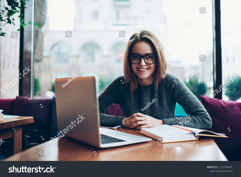 Portrait Smiling Female Professional Freelancer Sitting