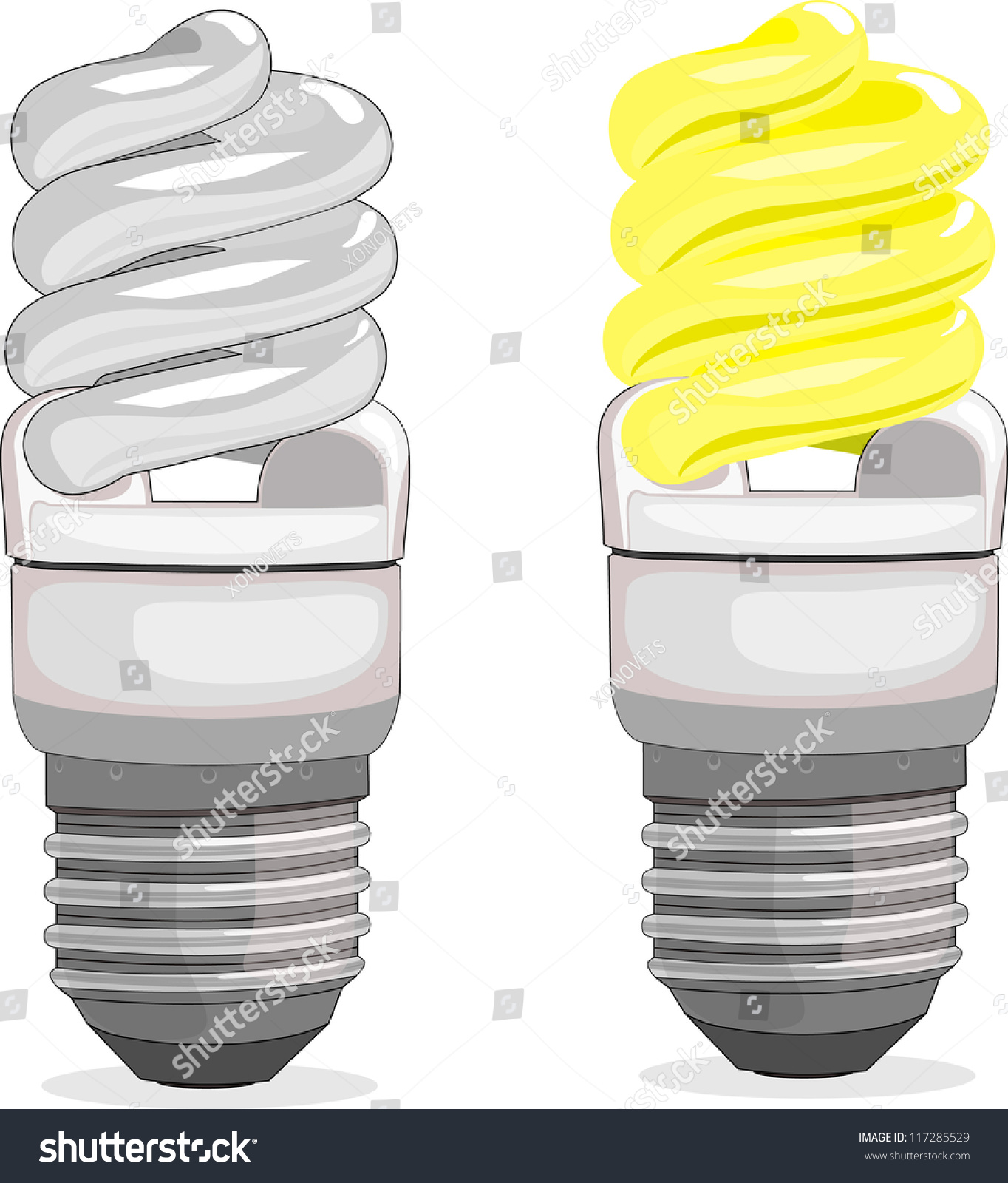 Fluorescent Light Goes On And Off: On, Off, Economical Fluorescent Light Bulb Stock Vector