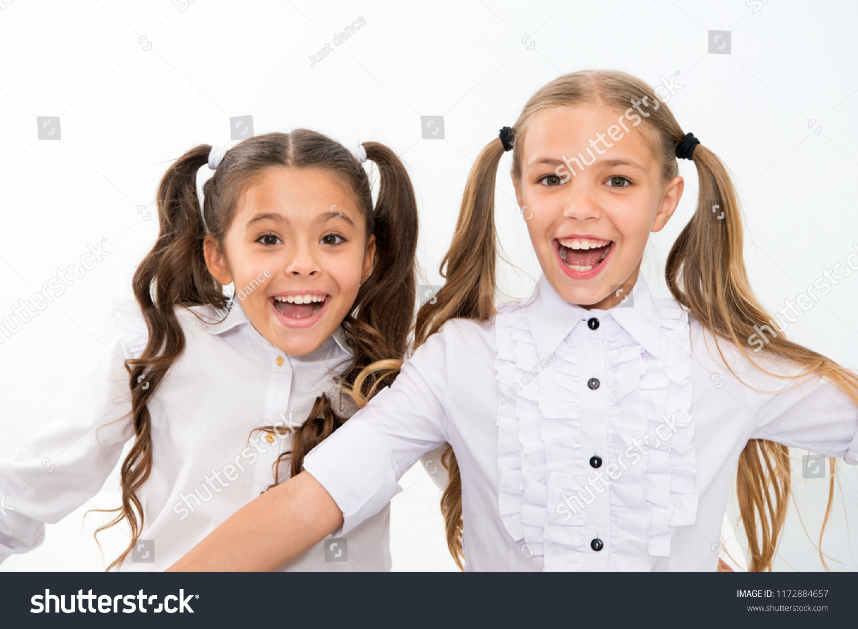 Schoolgirls Cute Ponytails Hairstyle Brilliant Smiles Stock Photo
