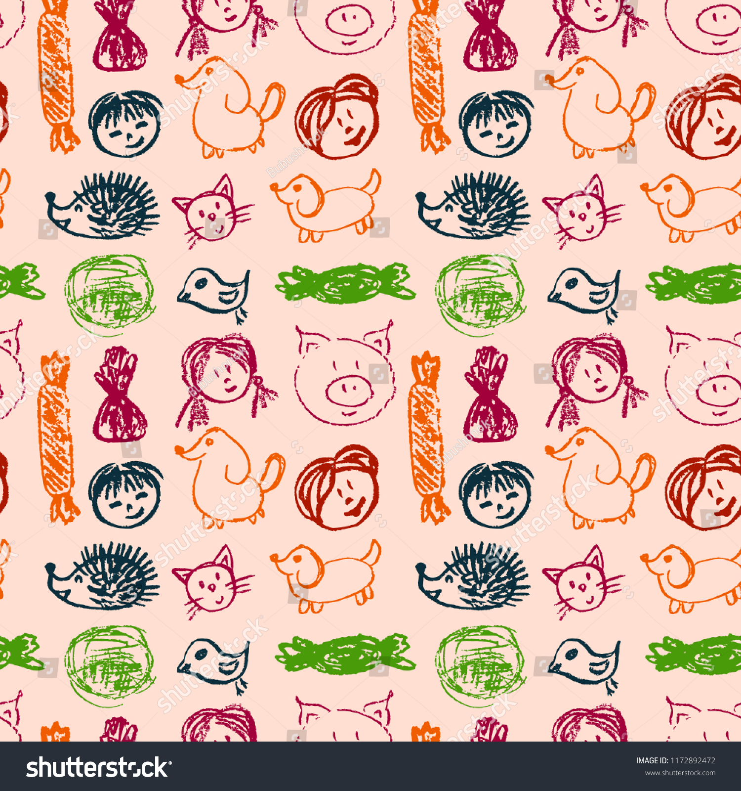 Cute Stylish Seamless Pattern Draw Pictures Stock Vector Royalty