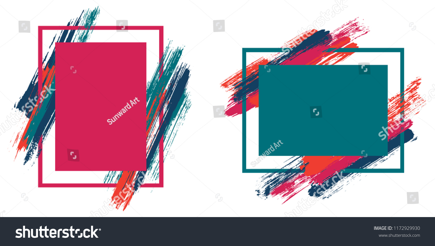1ad3064fc09 Cool frames with paint brush strokes vector collection. Box borders with  painted brushstrokes backgrounds.