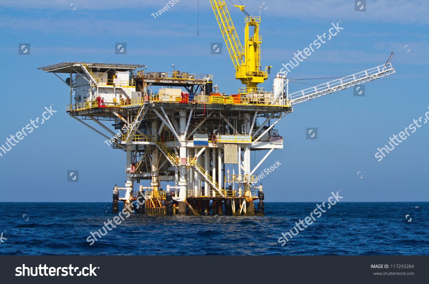 California Offshore Oil Platforms : Large pacific ocean offshore oil rig stock photo
