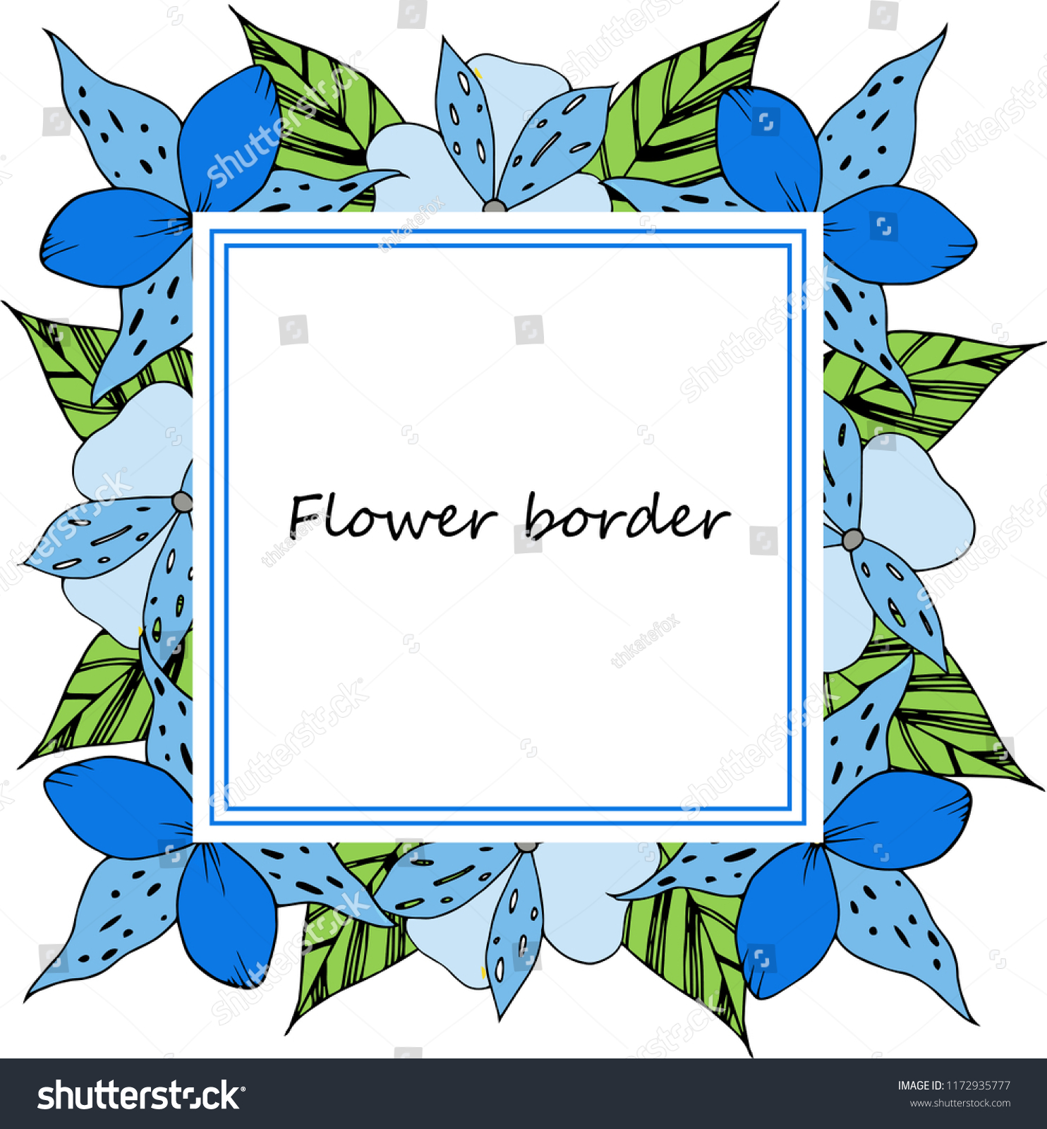 flower vector drawing frame isolated template stock vector royalty