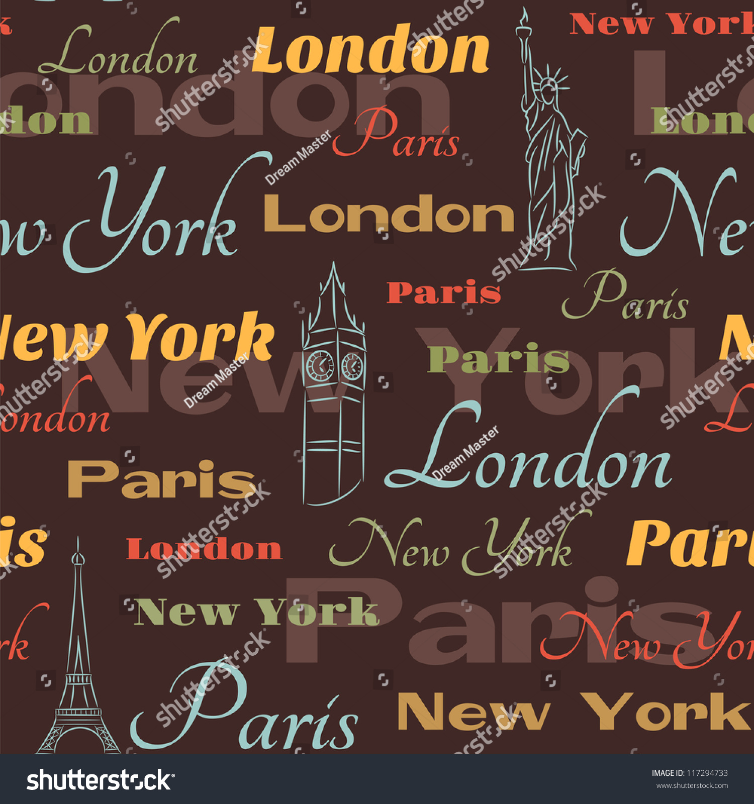 Retro Seamless City Names New York Stock Vector 117294733 ...