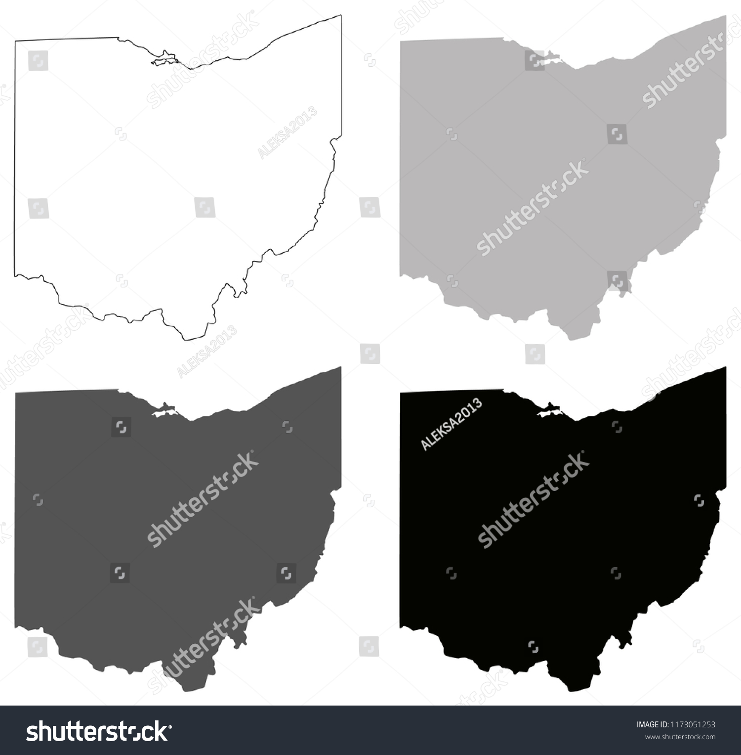 Free Ohio Map.Vector Illustration Ohio Maps Stock Vector Royalty Free 1173051253