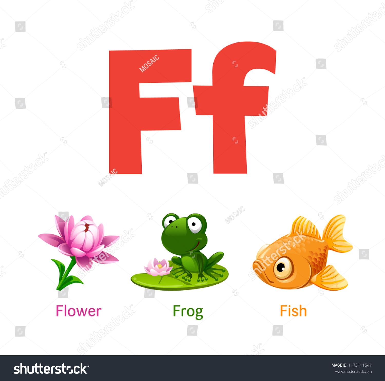 Cute Children Abc Animal Alphabet Flashcard Stock Vector