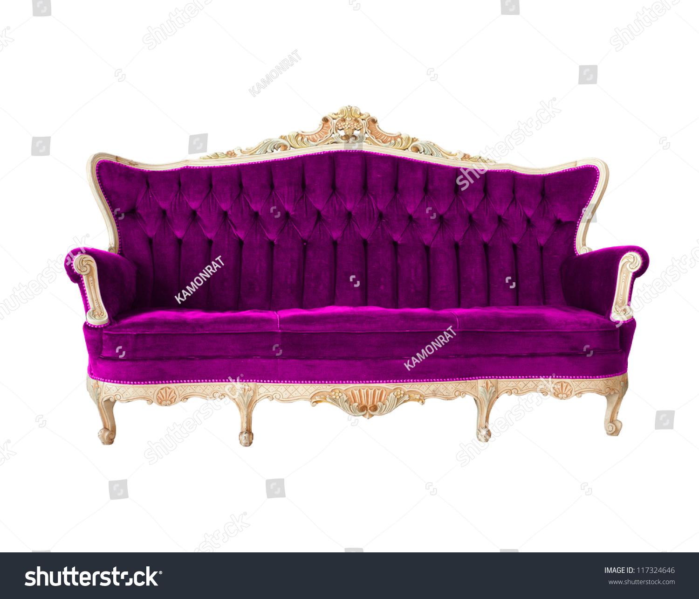 Vintage Luxury Sofa Color Purple Isolated Stock