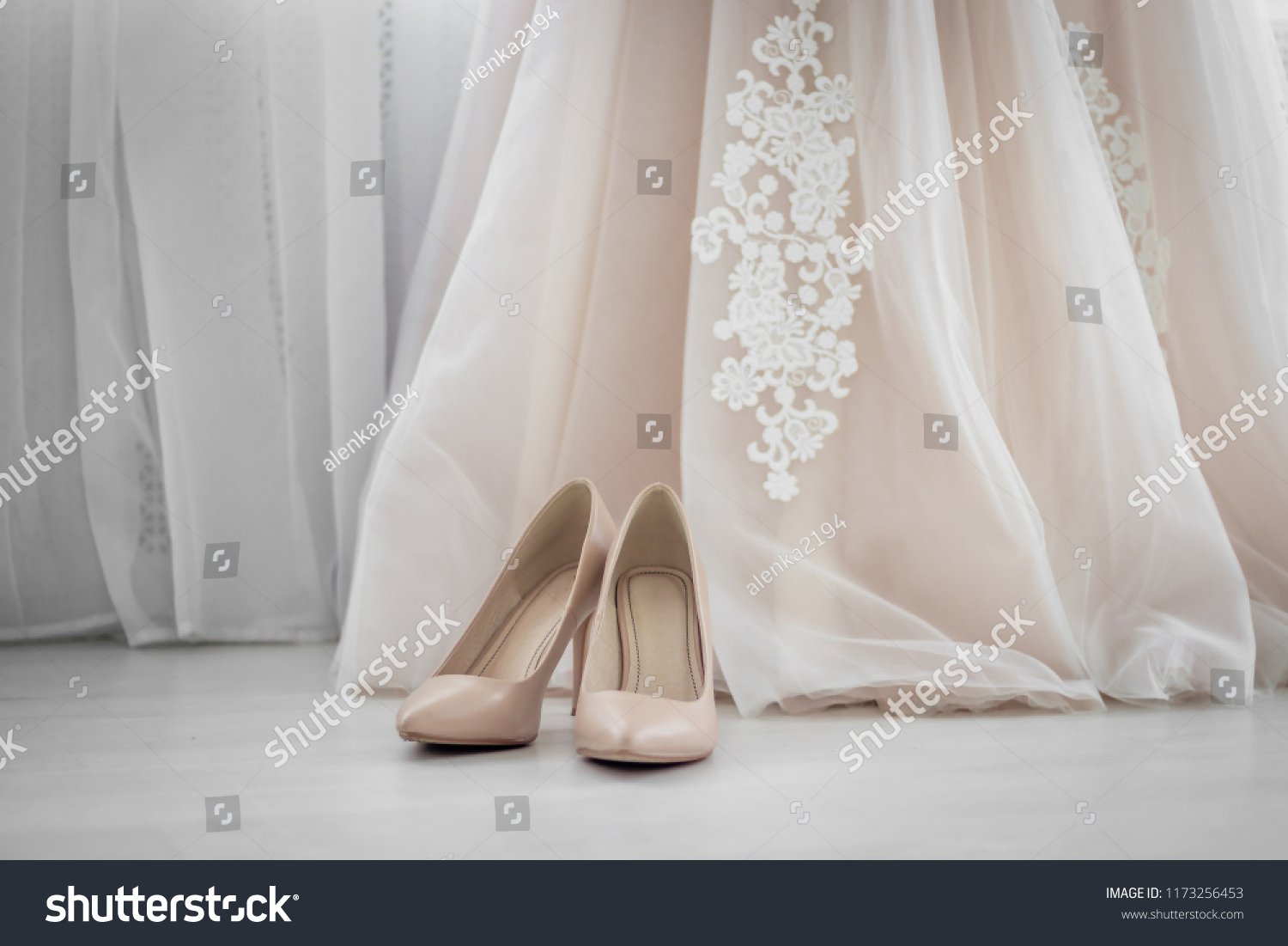 9ce851a2c3d140 Beige shoes. Wedding Shoes. Bride shoes on heel. The bride s fees. Wedding  decorations - Image