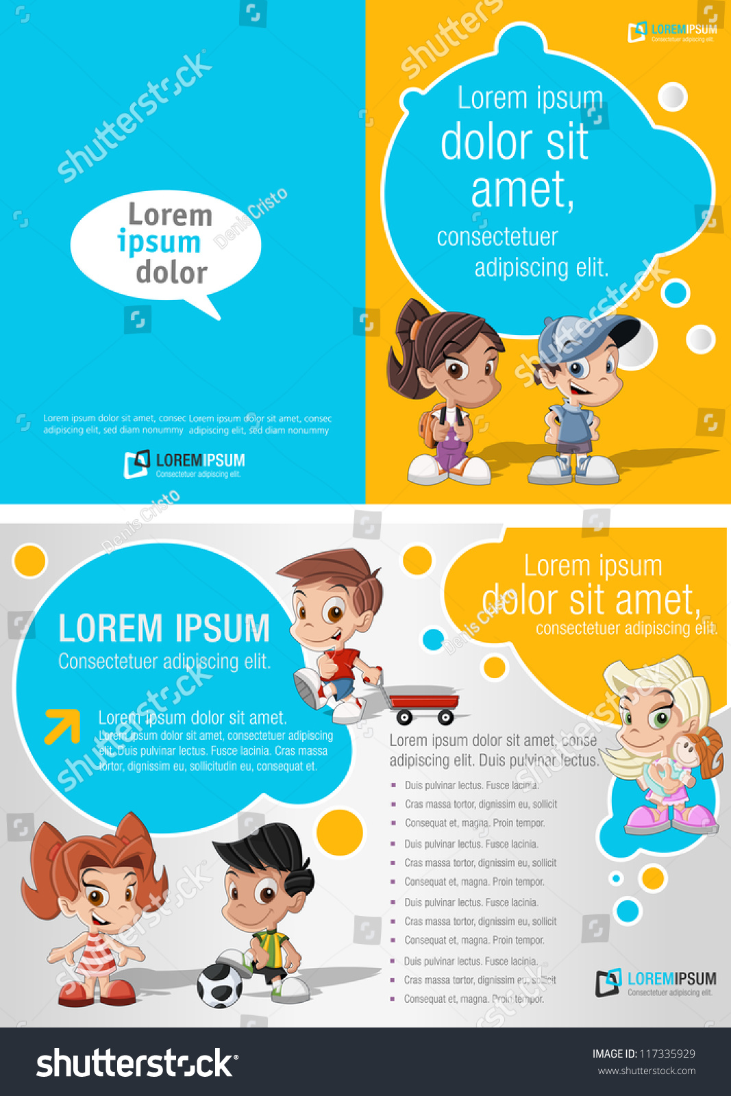 Blue yellow template advertising brochure group stock for Brochure template for kids