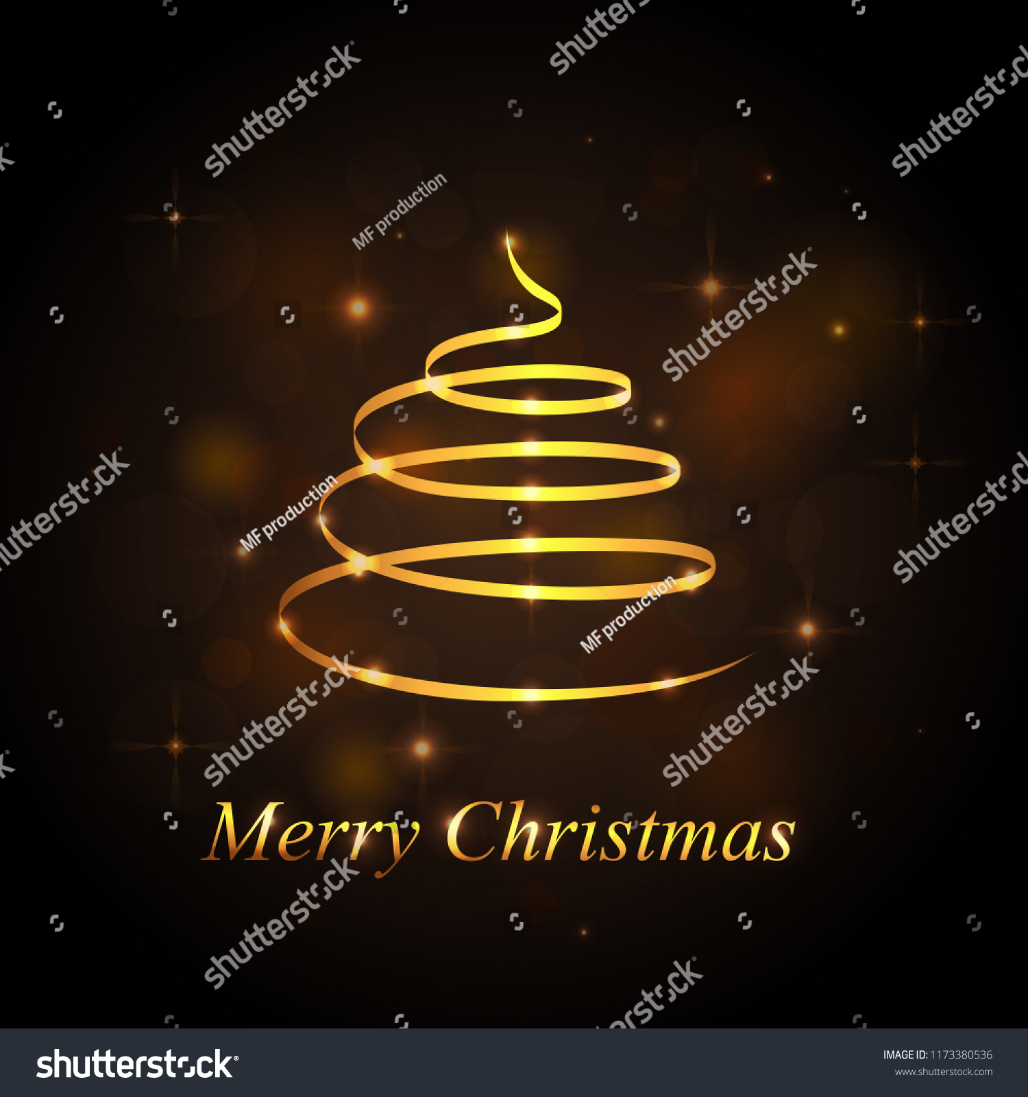 Christmas Tree Isolated On Black Background Stock Vector Royalty