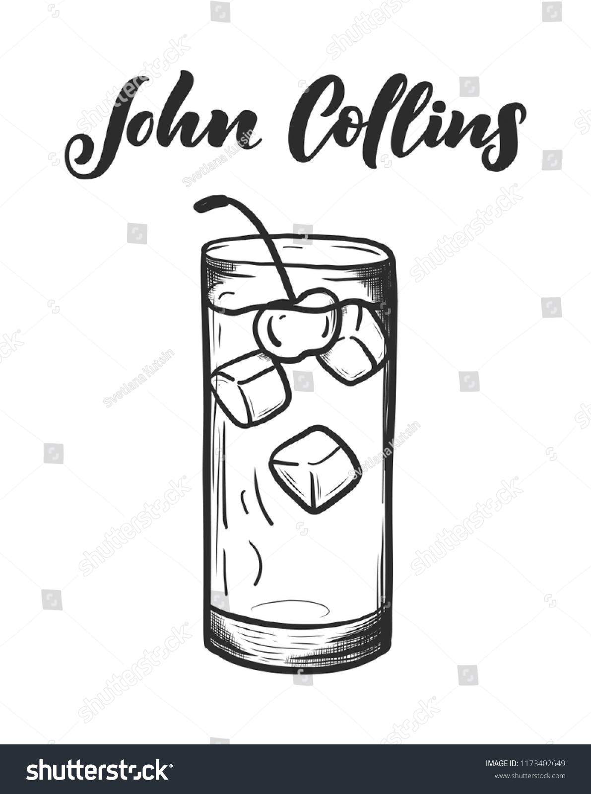lettering name cocktail glass template card stock vector royalty