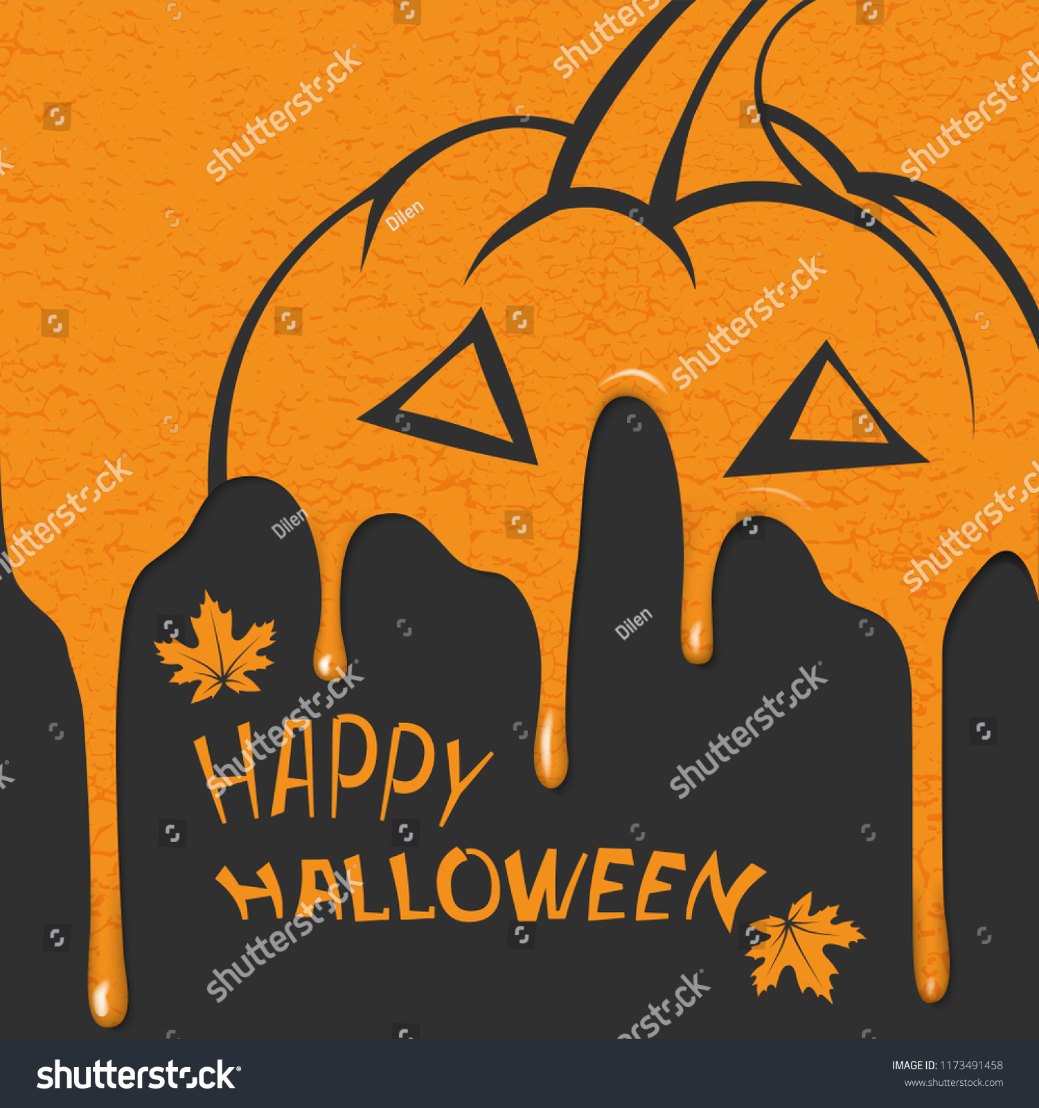 Flat Image Greeting Card Halloween Silhouette Stock Vector Royalty