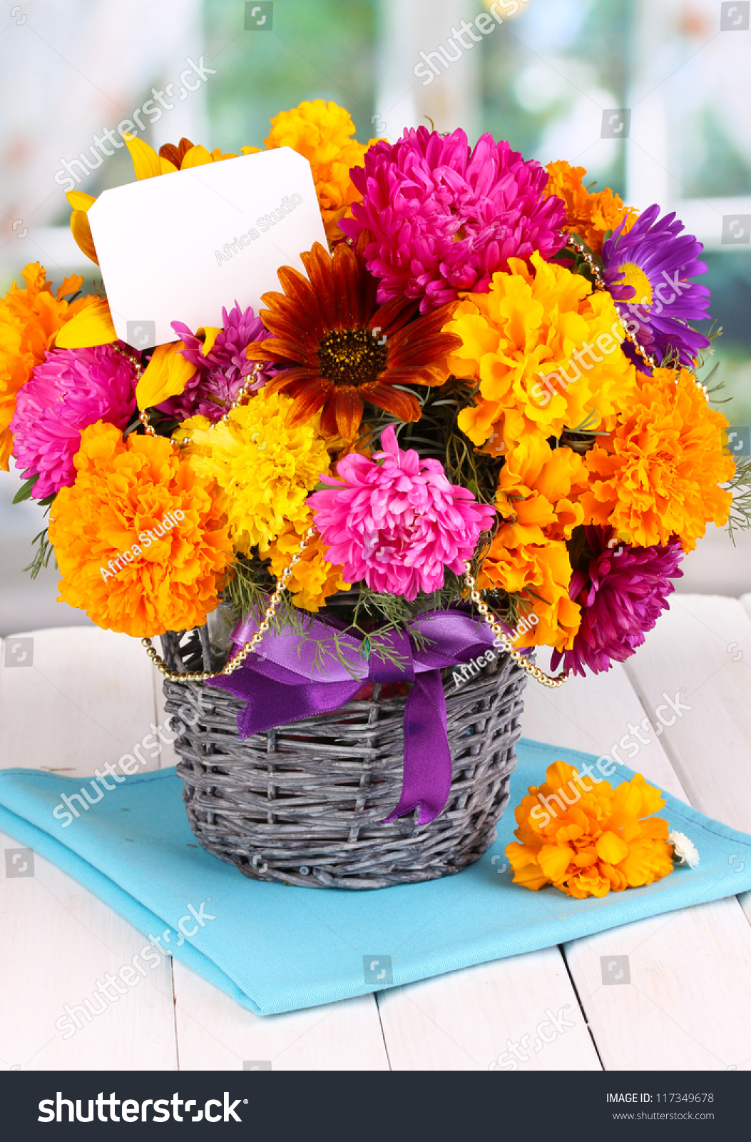 Beautiful Bouquet Bright Flowers Paper Note Stock Photo Image
