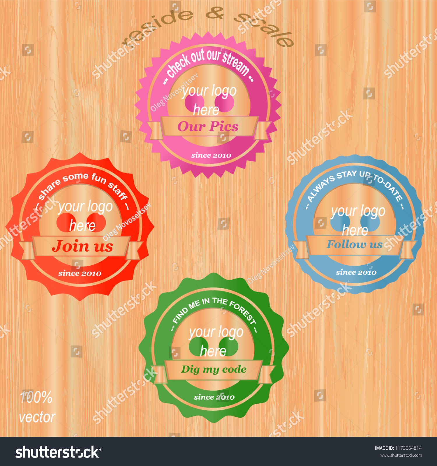 Social Network Icons Labels Design Social Stock Vector Royalty Free