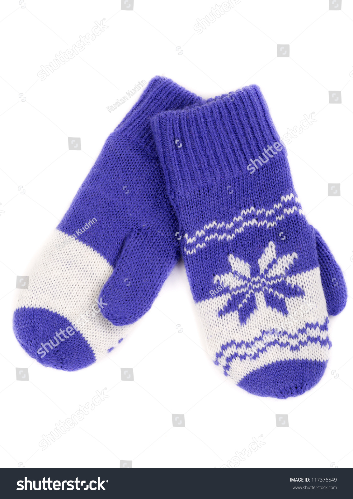 Knitting Pattern For Snowflake Mittens : Pair Of Knitted Mittens With Pattern Snowflake. Isolate On White. Stock Photo...