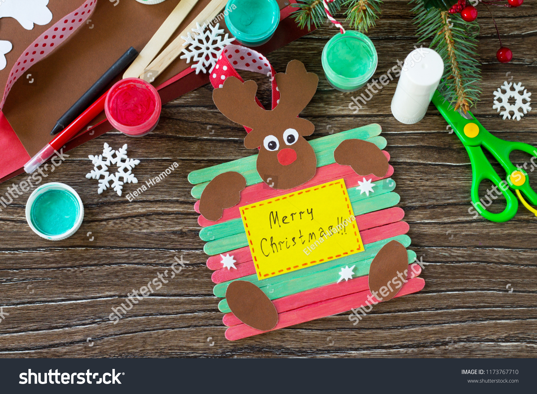 Santa Reindeer Stick Gift Handmade Project Stock Photo Edit Now