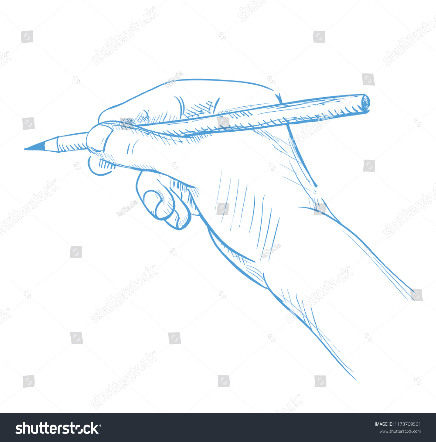 Hand with a pencil drawing sketch outline illustration