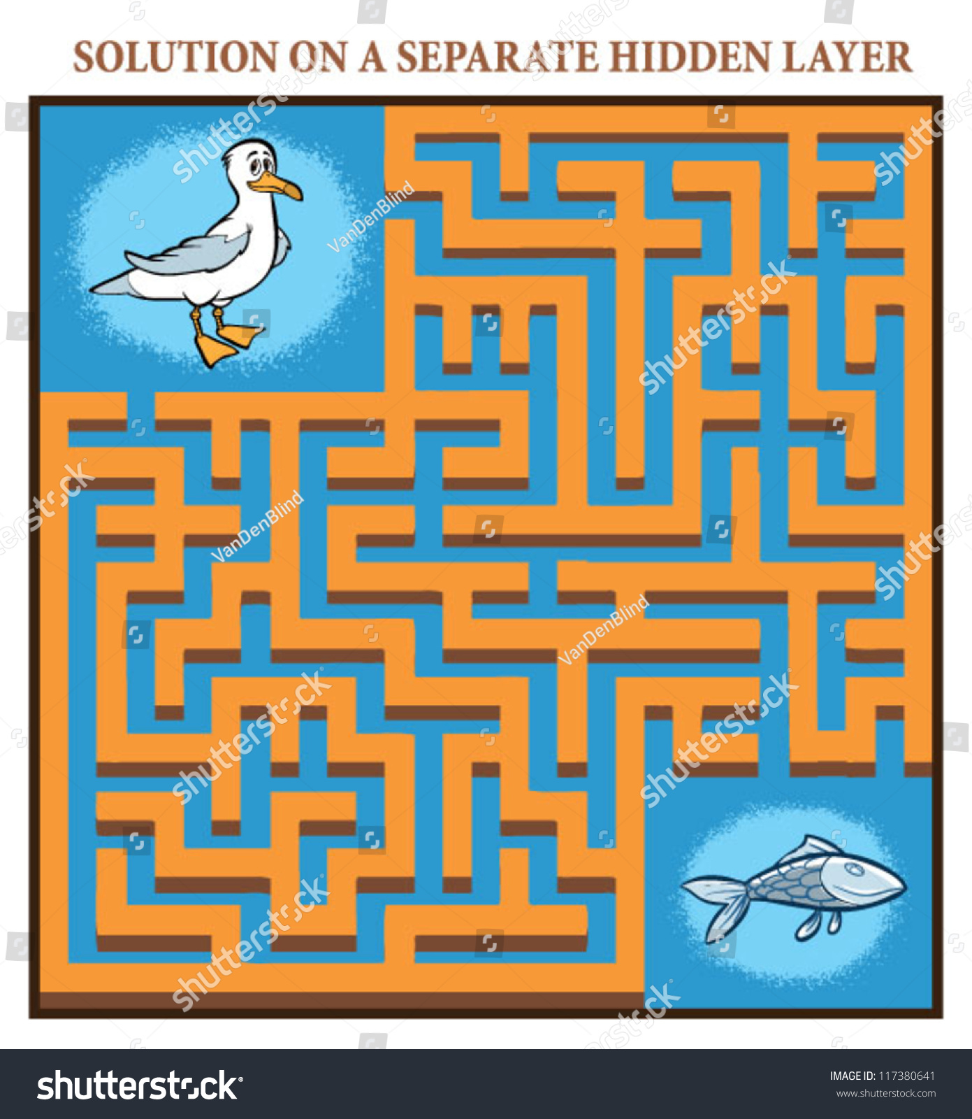 Seagulls Maze Game Help Hungry Seagull Stock Vector 117380641 ...