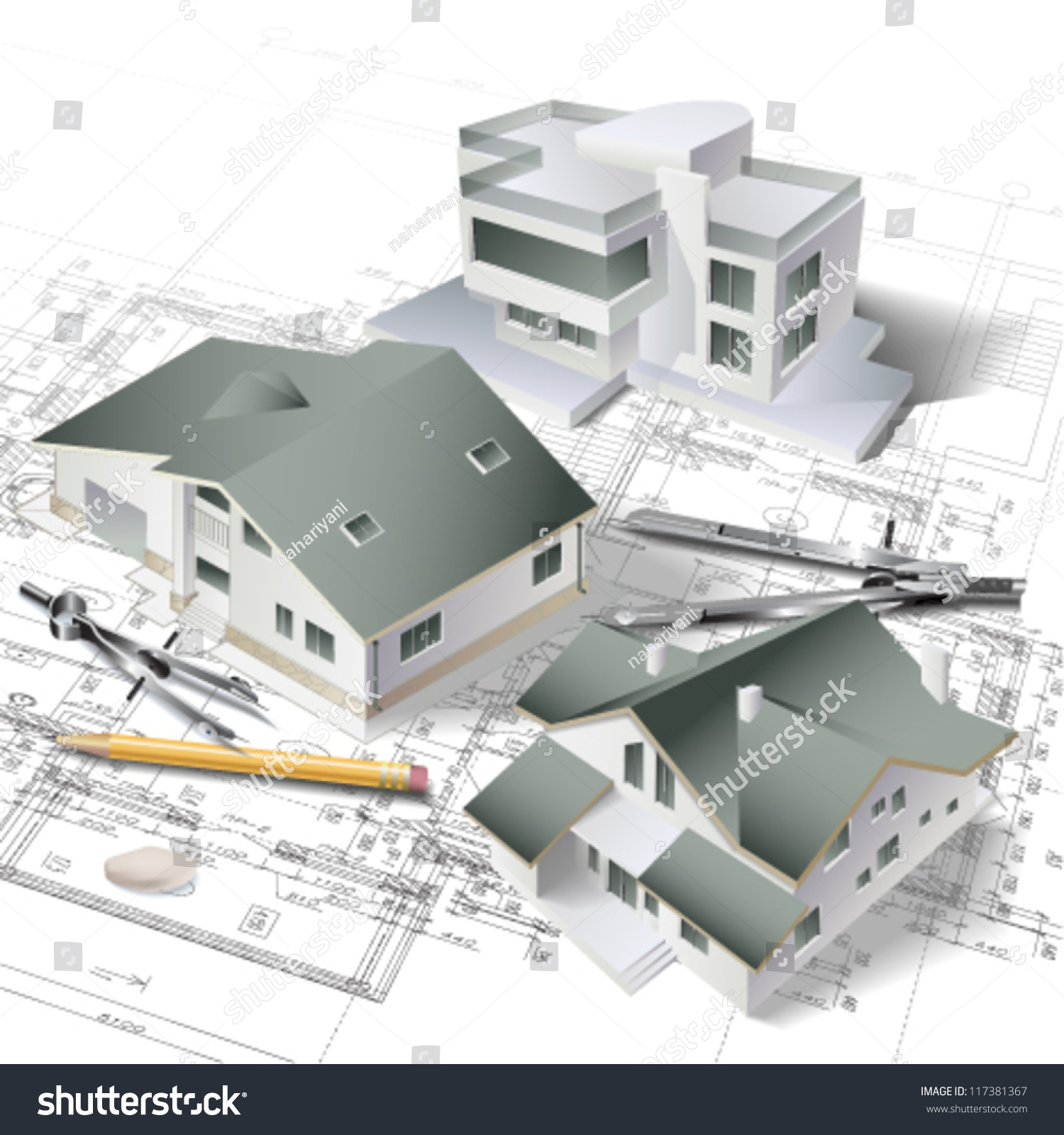 Architectural background 3d building model part stock for Building project plan