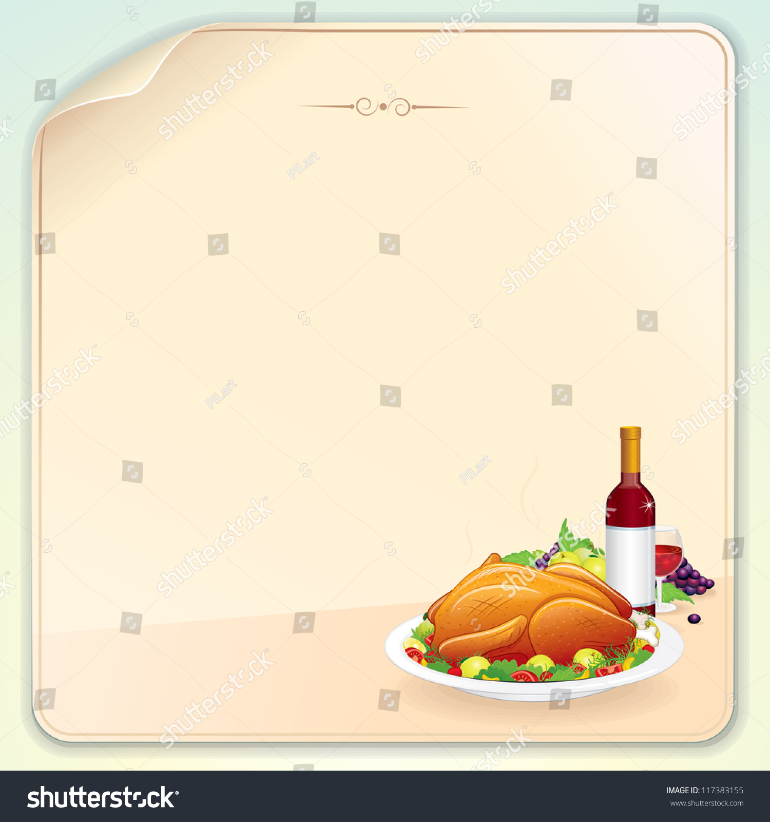thanksgiving greeting card with roasted turkey fruits and wine blank vector template for your. Black Bedroom Furniture Sets. Home Design Ideas