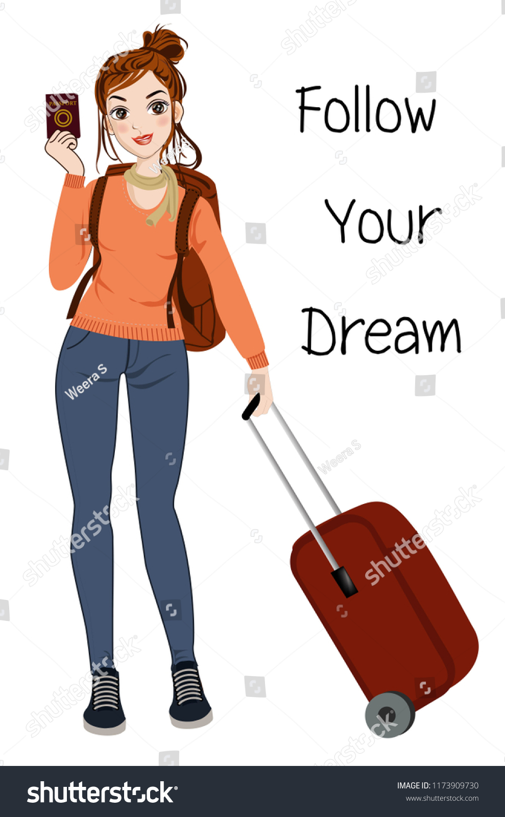 Character Woman Traveling Vector Illustration Stock Vector Royalty Free 1173909730