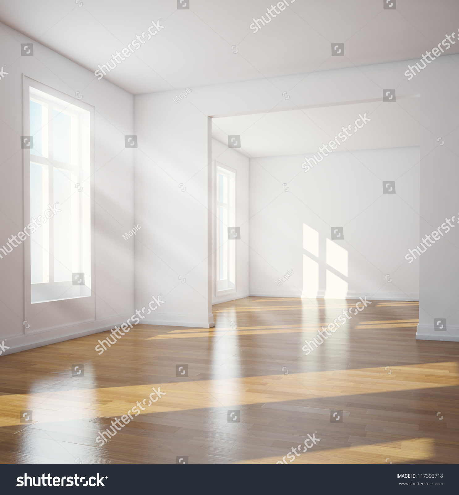 Simple living room interior design 3d - Modern Interior Sunlit Empty Room Stock Photo 117393718