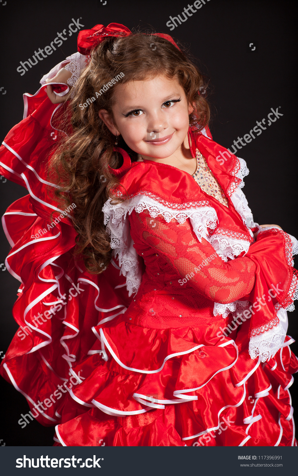 ddbcffd88510 Adorable toddler girl dancing flamenco in traditional spanish red dress. Little  child from Andalusia with