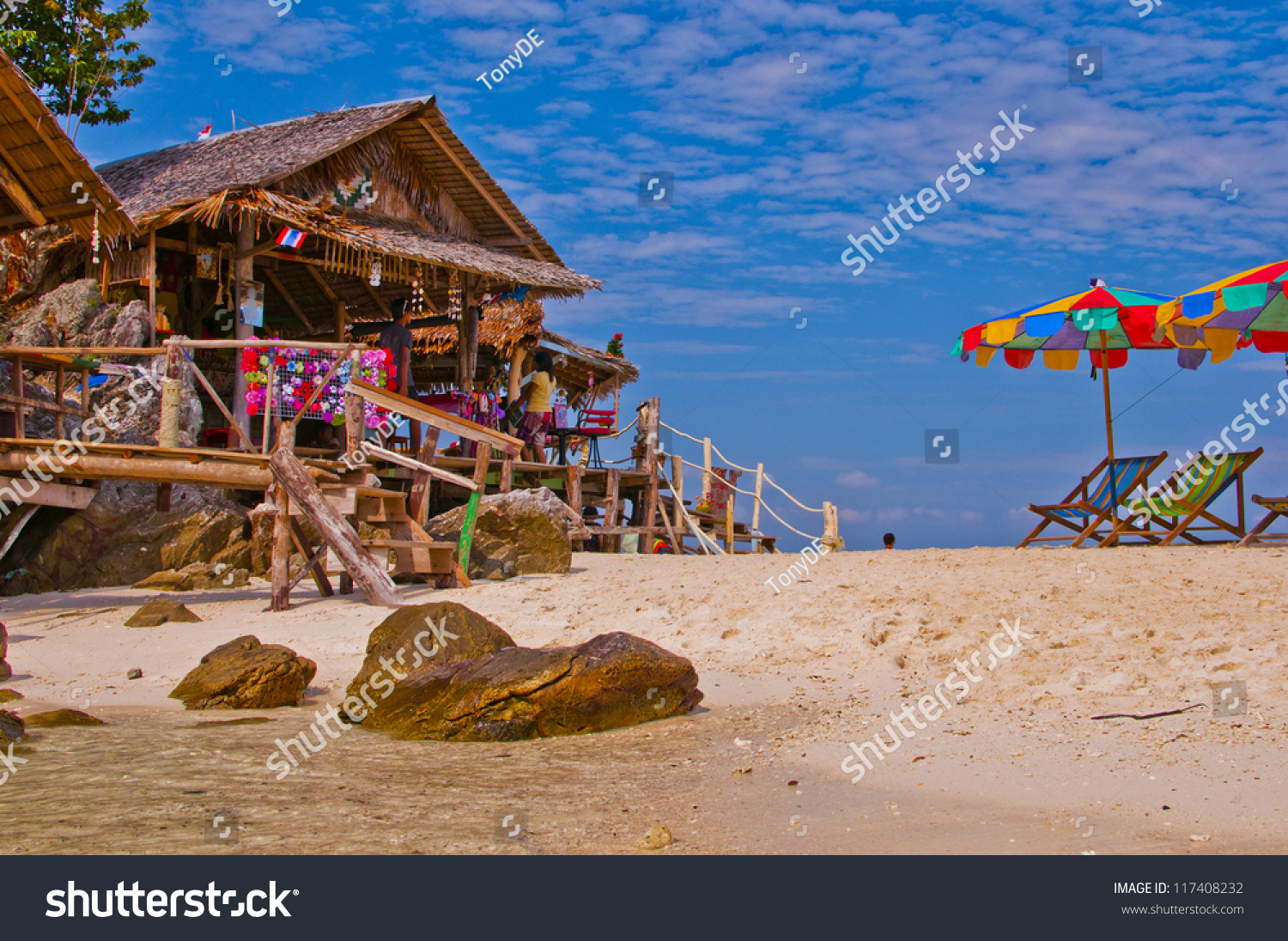 Tropical Island Beach House: Beach House In A Tropical Island Paradise Stock Photo