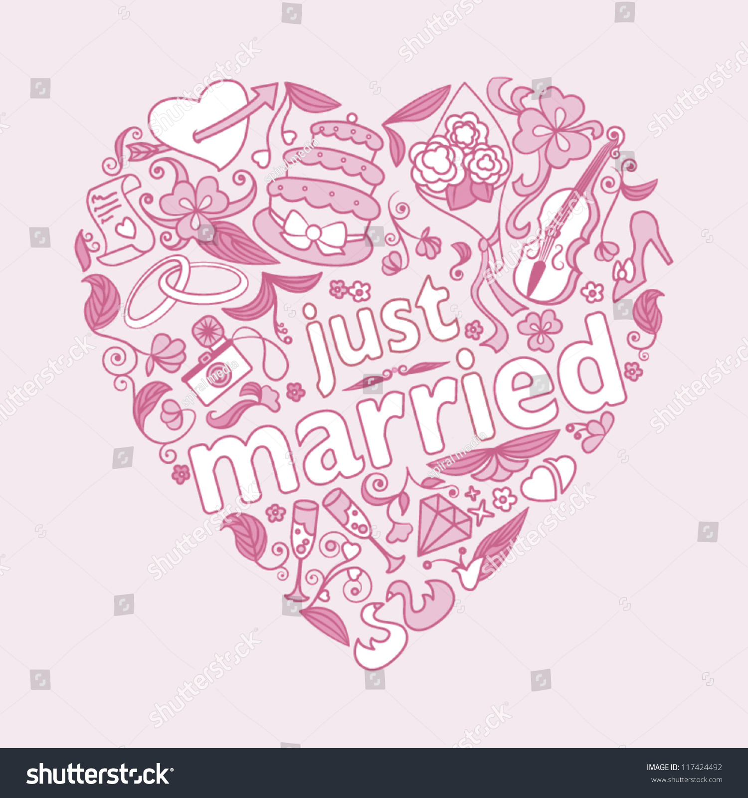 Card design just married stock vector illustration Married to design