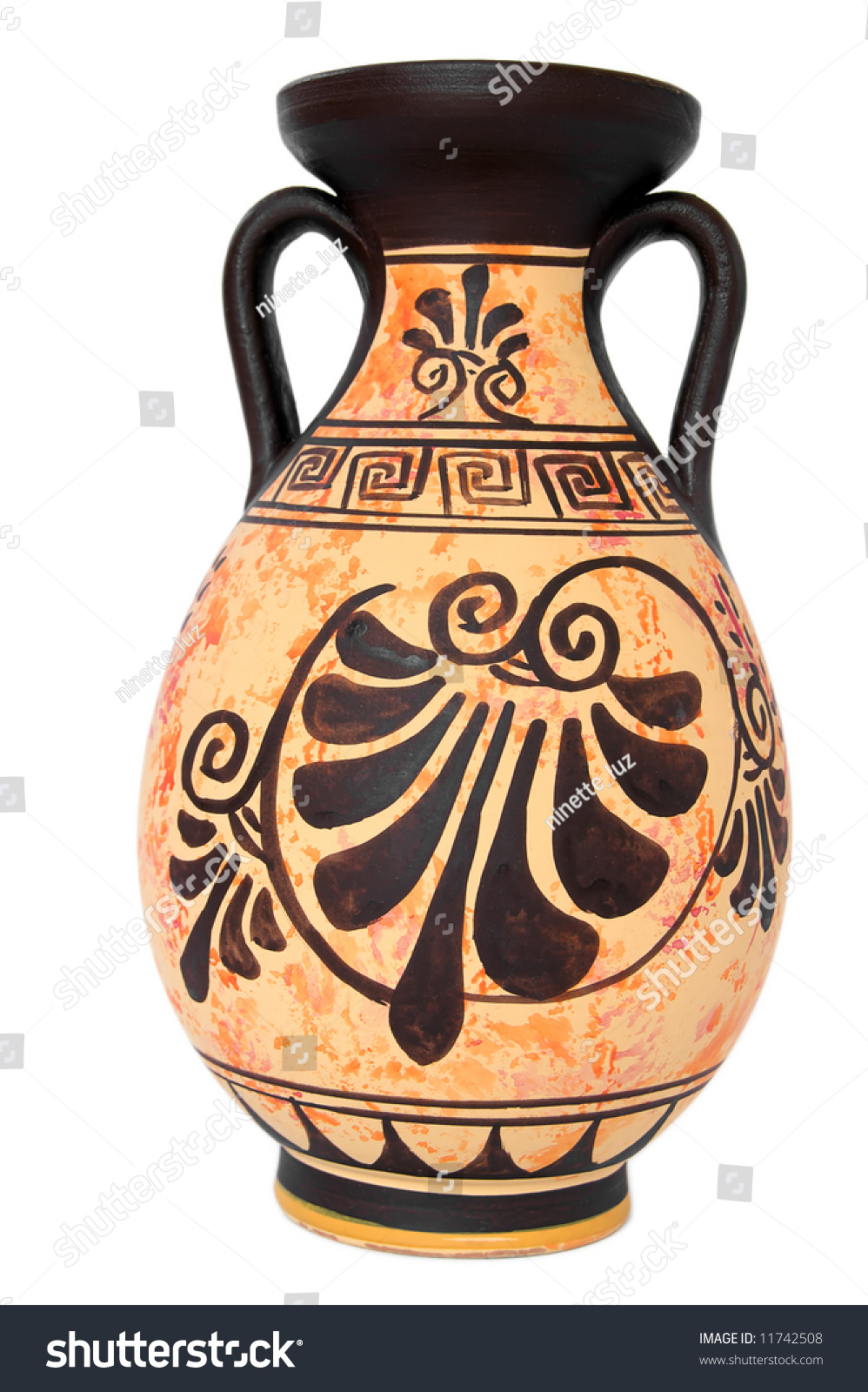 Ancient greek orange vase isolated over stock photo for Ancient greek pottery decoration
