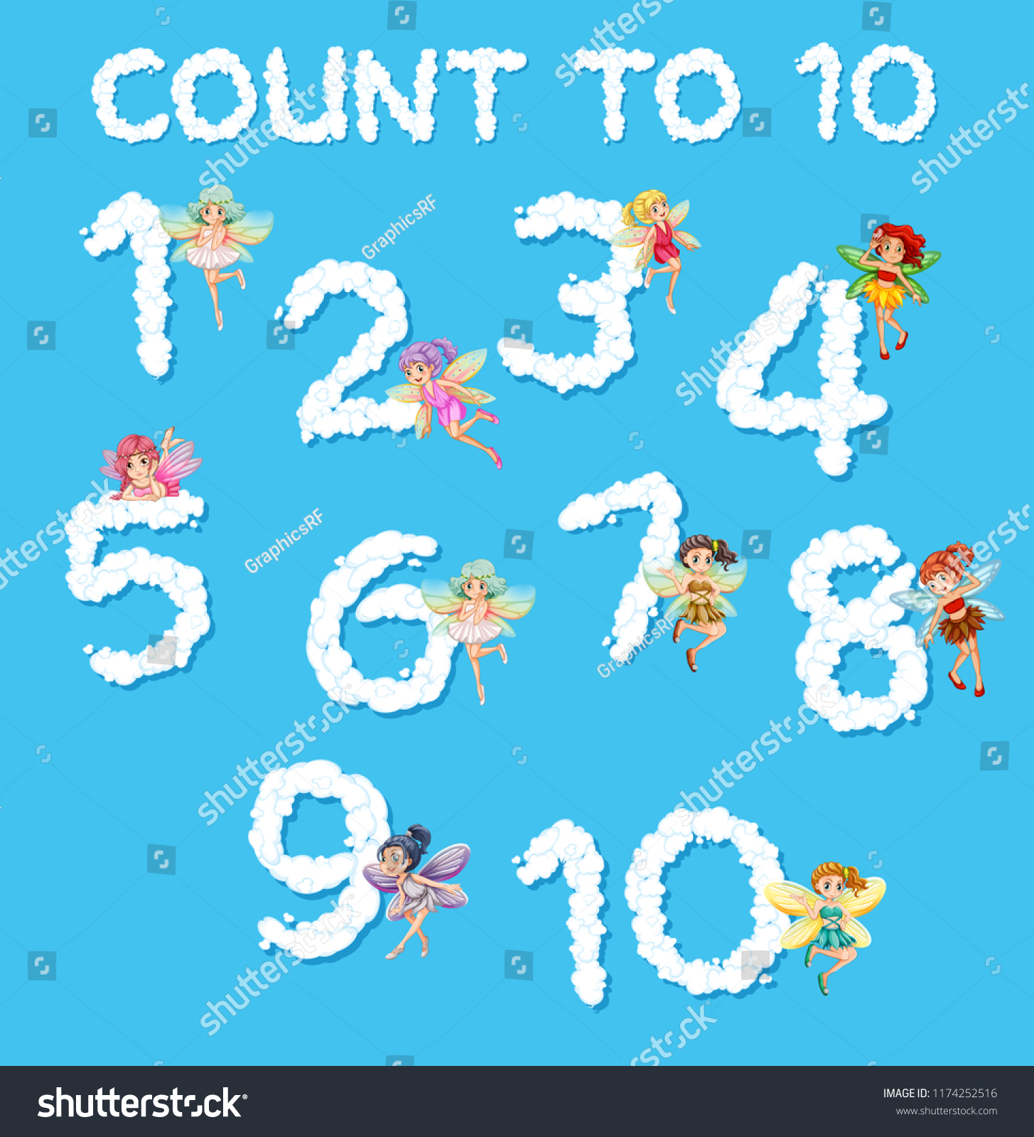 Fairies Counting Numbers 1 10 Stock Vector (Royalty Free) 1174252516 ...