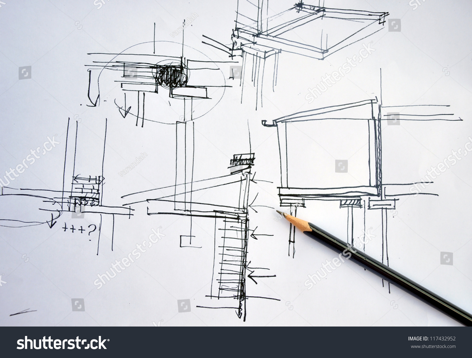 Draft hand drawing foundation architecture plan with black for Foundation plan drawing