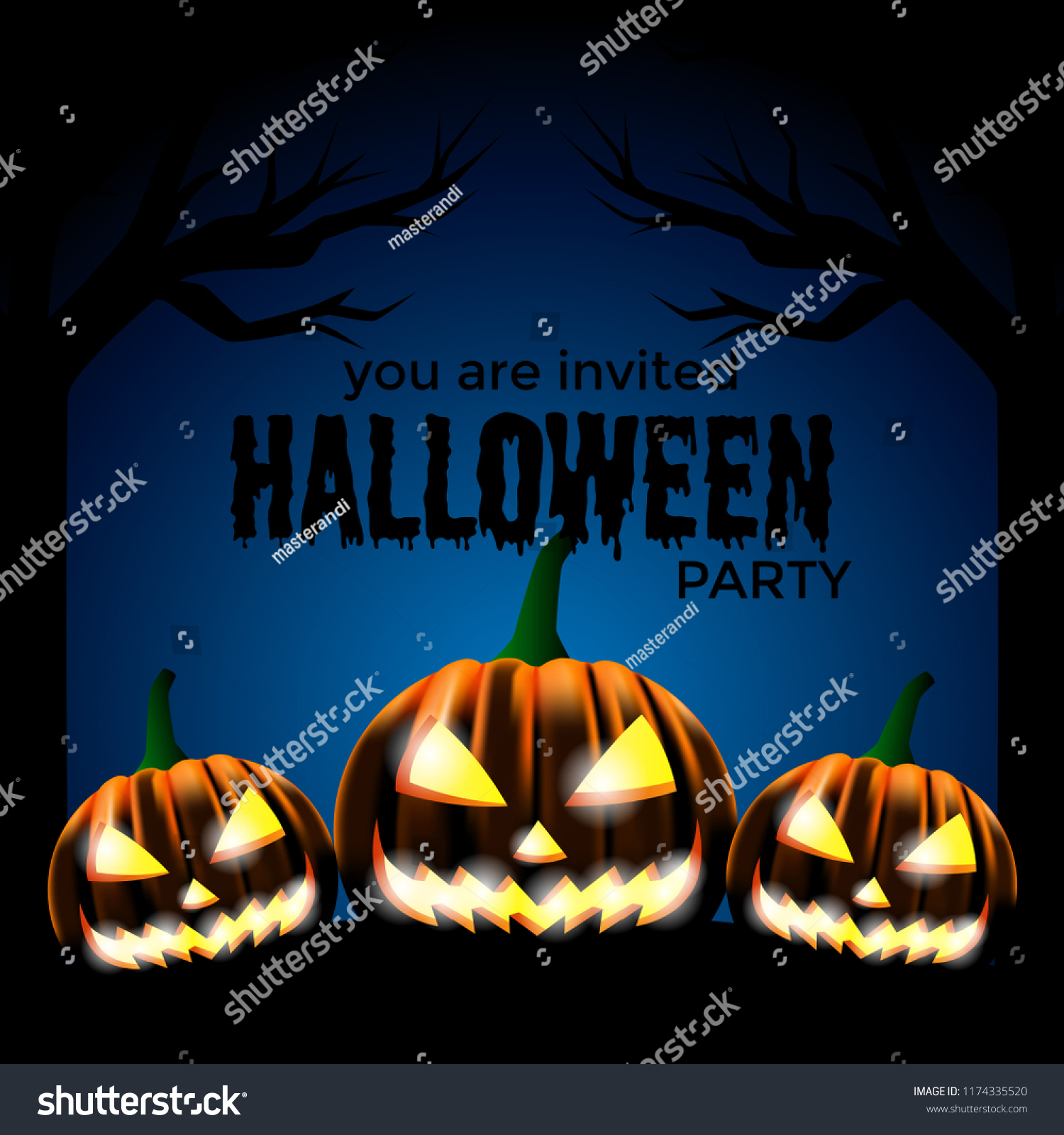 Halloween Party Invitation Template With Scary Pumpkin Face Vector Illustration
