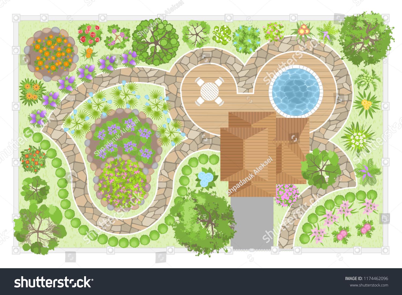 Vector Illustration Modern Garden Design Top Stock Vector Royalty