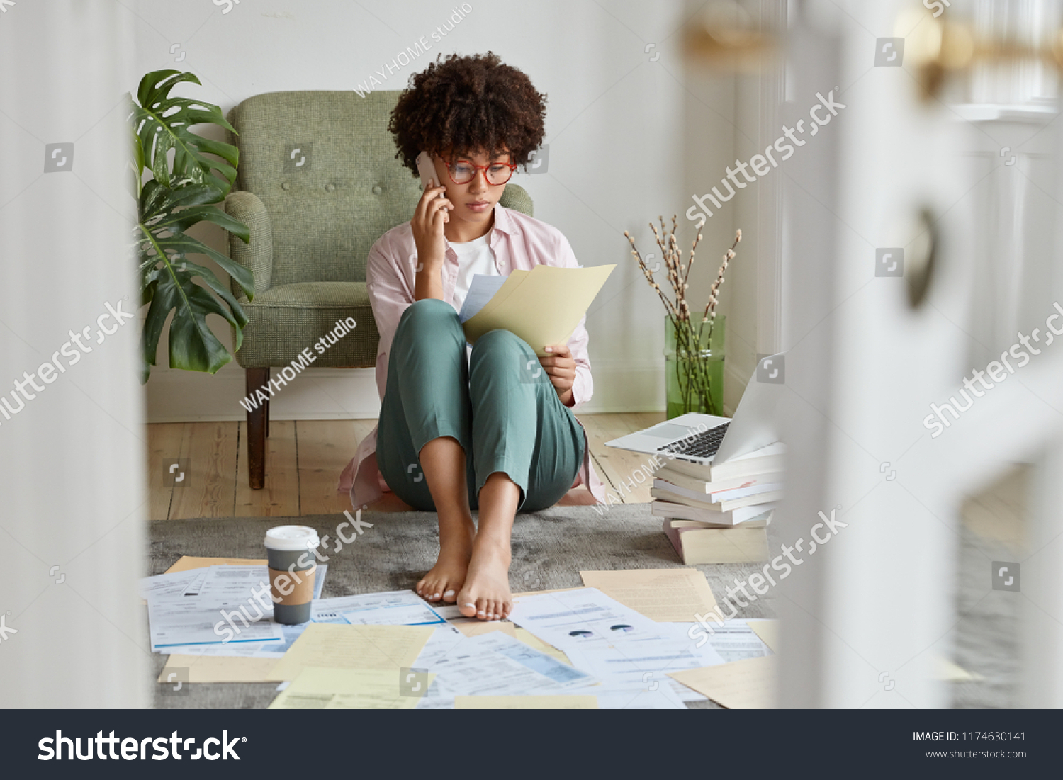 Busy Lady Afro Hairstyle Studies Attentively Stock Photo Edit Now