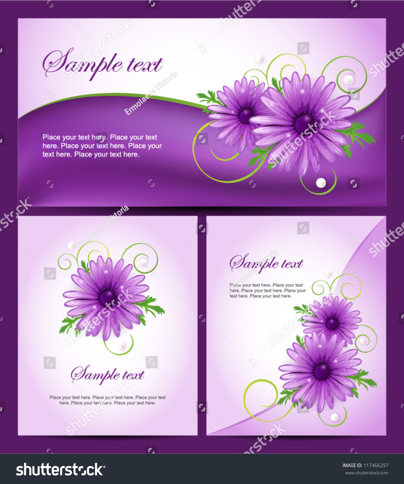 Set colorful banners purple daisy flowers stock vector royalty free set of colorful banners with purple daisy flowers easy to edit perfect for invitations izmirmasajfo