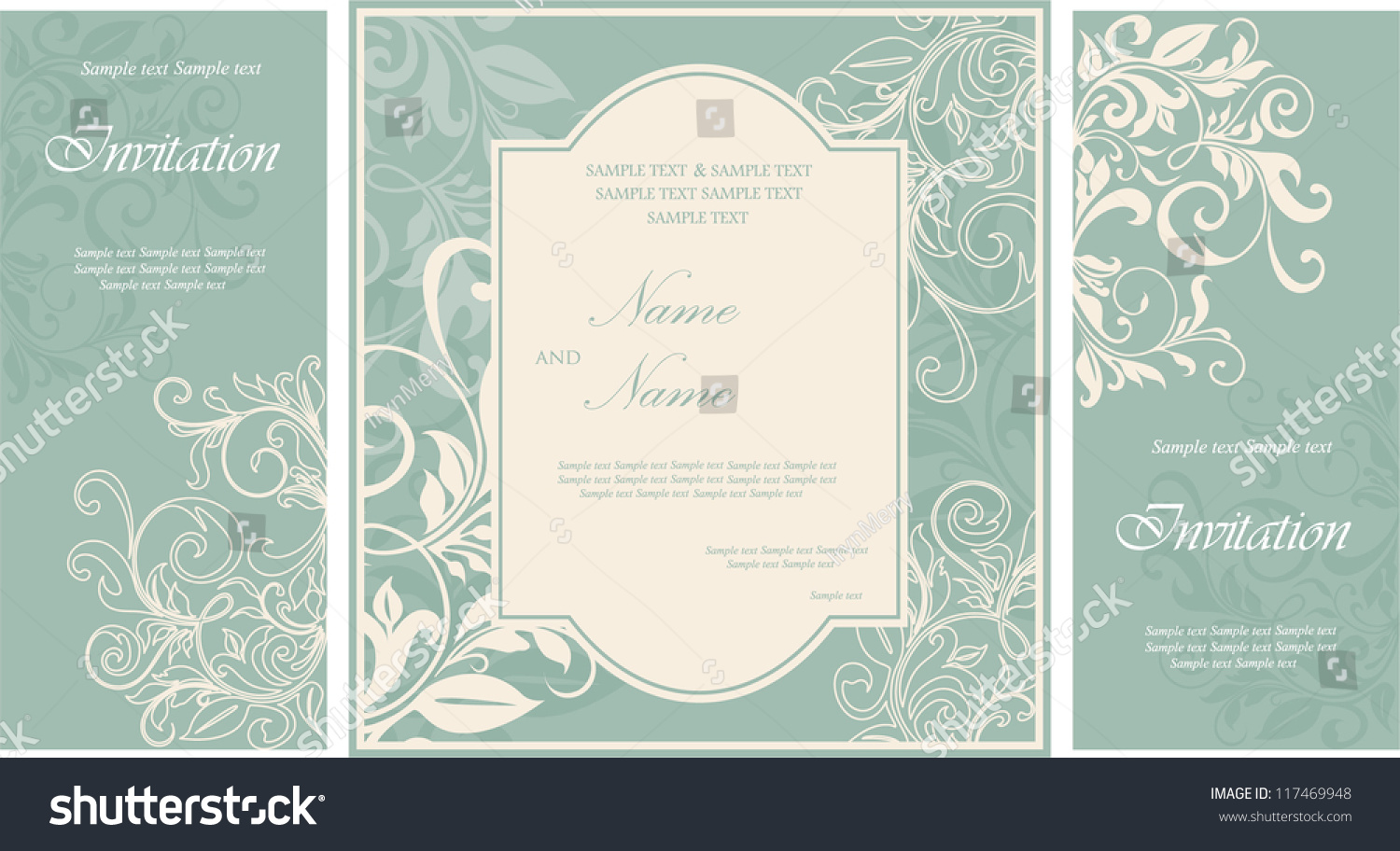 Wedding Invite Card Stock: Wedding Invitation Cards Floral Elements Stock Vector